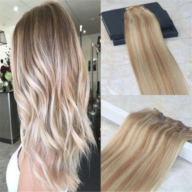 HairDancing 60cm 120gram 7Pcs Colour #12 Fading to #613 Bleach Blonde Best Quality Full Head Clip on Hair Extensions Ombre Extensions Clip in Dip Dye Balayage Remy Extensions