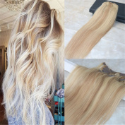 HairDancing 60cm 120gram 7Pcs Colour #14 Fading to #613 Bleach Blonde Best Quality Full Head Clip on Hair Extensions Ombre Extensions Clip in Dip Dye Balayage Remy Extensions