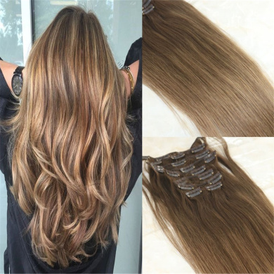 HairDancing 60cm 120Gram 7Pcs Full Head Set Balayage Human Hair Clip Extensions Remy Ombre Colour #2 Fading to #8 Light Brown Clip in Extensions Real Hair Extensions