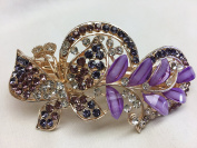 Gorgeous Vintage Jewellery Crystal Rhinestones Butterfly Design Hair Barrette Clips Hair Clips- Large Size - Purple Colour -For Hair Beauty Tools