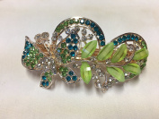 Gorgeous Vintage Jewellery Crystal Rhinestones Butterfly Design Hair Barrette Clips Hair Clips- Large Size - Lime Colour -For Hair Beauty Tools