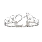 BABEYOND Crystal Tiara Birthday Crown Princess Crown Hair Accessories Silver Diamante Happy 18/20/30/40/50/60th Birthday
