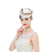 Sinamay Fascinators Wedding Derby Hats - AWAYTR New Flower Headband Leaf Berry Fascinator Hat With Net Veil For Women Headwear
