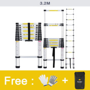 Finether 3.2 m Telescopic Ladder EN131 Certified 11 Steps Aluminium Portable Lightweight