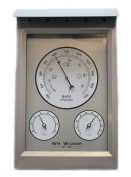 Weather Staion Aluminium Metal Wall Barometer Thermometer & Hydrmoeter