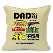 Personalised Cushion Cover Gift For Dad Birthday Fathers Day Gift Superhero Spiderman Superman Ironman Hulk Batman 18 inch 45 cm Beige