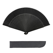 K.MAX Bamboo Folding Fan,Japanese Style Hand Black Silk Fan for Home Decoration Party Wedding Dancing Easter Gift with Fan Cover and Tassels