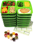 14-Pack 3 Compartment Meal Prep Containers with Lids & 30ml Leak Proof Sauce Cups. Microwave & Dishwasher Safe, BPA Free, Reusable, Stackable, Portion Control Bento Lunch Box Food Containers