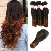 Mink Hair Brazilian Ombre Spring Curl Hair with Closure (12 14 16 + 12) Grade 8A Virgin Spring Curly Hair Extension with 4X4 Free Part Lace Closure 100g/bundle Two Tone Ombre Colour 1b/4#