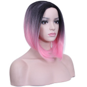 Deifor Dark Roots Highlights Bob Wigs Short Straight Ombre Synthetic Hair Wigs for Women
