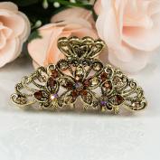 Beautyxyz Woman's new flowers design 7cm metal rhinestones hair clip claws