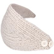 Simplicity Women's Winter Crochet Knit Headband with Pearl Beads, Beige3