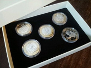 LUXURY ADULT NOVELTY SEX EURO COMMEMORATIVE COIN BOX SET 5 X 24K GOLD PLATED COINS / AIRTIGHT CAPSULES MENS NOVELTY GIFT SET