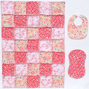 Lovely Pink Floral Print with Coordinating Pink, Coral and Black Accent Fabrics Baby Rag Quilt with Matching Burp Cloth and Bib