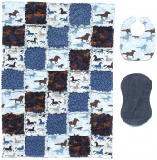 Running Horses Print with Coordinating Blue, Grey and Denim Accent Fabrics Baby Rag Quilt with Matching Burp Cloth and Bib