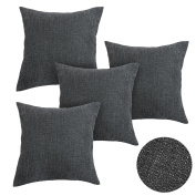 Deconovo Faux Linen Throw Cushion Covers Home Decorative Hand Made Pillow Case Cushion Cover For Travel Use 46cm x 46cm Dark Grey 4 Pcs