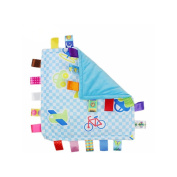 J & C Family Owned Blue Vehicle Taggie Style Super Soft Lovey Baby Blanket