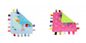 J & C Family Owned Blue Vehicle and Pink Bubbles Taggie Style Super Soft Lovey Baby Blanket 2 Pack