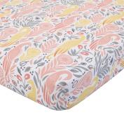 DwellStudio Boheme Peacock/Floral Print Fitted Crib Sheet, Peach/Gold/Grey