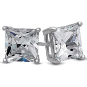 Chryssa Youree 18k White Gold Plated CZ Cubic Zirconia Square Princess Cut 8mm Studs Earrings Gift Box Included - Mens Womens Children Fashion Jewellery, Bridesmaid Groomsmen Gifts (ED-68)