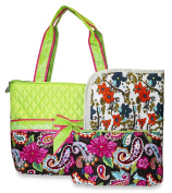 Rosenblue Quilted Nappy Bag Set with Changing Mat, Paisley Print Multi Green Brown