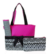 Rosenblue Quilted Nappy Bag Set with Changing Mat, Aztec Print Pink Black