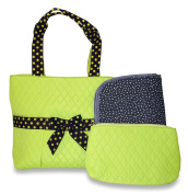 Rosenblue Quilted Nappy Bag Set with Changing Mat, Green Polka Dots with Brown Trim