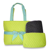Rosenblue Quilted Nappy Bag Set with Changing Mat, Green Polka Dots with Blue Trim