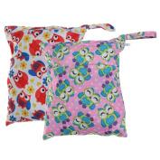 Dovewill 2pcs New Zipper Pockets Bag Baby Cloth Nappy Nappy Wet Dry Swim Bags