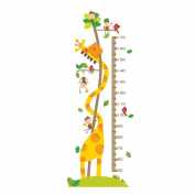 Winhappyhome Giraffe Kids Height Measurement Chart Wall Art Stickers for Bedroom Living Room Coffee Shop Background Removable Decor Decals