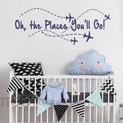 BATTOO Oh the places you'll go! Aeroplane Wall Decal - Nursery Wall Decal - Kids Room Wall Decal - Boys Room Wall Decal - Girls Room Wall Decal