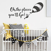 BATTOO Oh The Places You'll Go Nursery Wall Decal - Balloon Vinyl Wall Quotes Kids Baby Room Theme Wall Art