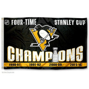 Pittsburgh Penguins 4 Time Stanley Cup Champions Flag