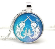 Narwhal Necklace Printed Papercut Illustration Pendant