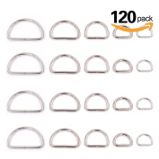 Swpeet 120 Pcs Assorted Multi-purpose Metal D Ring Semi-circular D Ring for Hardware Bags Ring Hand DIY Accessories - 1 / 5.1cm , 3 /10cm , 2.5cm , 5 /10cm ,3 / 5.1cm