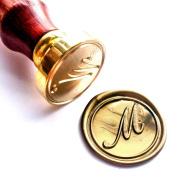 Vooseyhome Initial Letter Alphabet M Wax Seal Stamp with Rosewood Handle