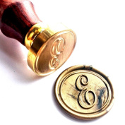 Vooseyhome Initial Letter Alphabet E Wax Seal Stamp with Rosewood Handle