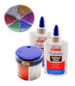 Classic Colour Glitter Shaker, 60g / 60ml - Clear School Glue, Washable, 150ml, Non-Toxic and Acid Free. (Colours