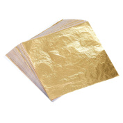 Bememo 100 Sheets Imitation Gold Leaf for Arts, Gilding Crafting, Decoration, 14cm by 14cm