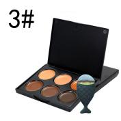Lisingtool 6 Colour Colours Professional Concealer Camouflage Makeup Palette Contour Face Contouring Kit + 1 PC Fishtail Brush