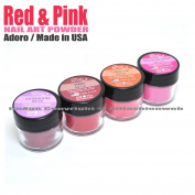 "4 ADORO DECORI NAIL ART ACRYLIC POWDER RED & PINK colours "" MADE IN USA "" + FREE EARRING"
