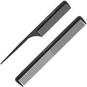 "Styling Comb and Tail Comb Combo Pack - Professional 8.75"" Black Carbon Fibre, Anti Static Chemical And Heat Resistant Combs For All Hair Types - By Bardeau Essentials"