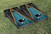 San Jose Sharks NHL Cornhole Game Set Weathered Triangle Version
