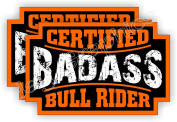 (2) Badass BULL RIDER Rodeo Helmet Stickers | Bad Ass Motorcycle Hard Hat Safety Decals | Cowboy Hat Labels Western Belt Buckle Roping Rodeos