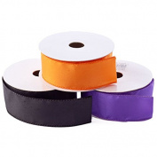 Factory Direct Craft Package of 3 Rolls of Wired Satin Ribbon In Pumpkin Orange, Midnight Black and Purple for Fall, and Halloween Crafting and Creating