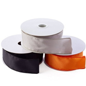 Factory Direct Craft Package of 3 Rolls of Wired Satin Ribbon In Pumpkin Orange, Midnight Black and Silver for Fall, and Halloween Crafting and Creating