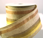 Wire Edged Grand Country Tan Striped Linen Ribbon 6.4cm 10 Yards