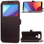 LG G6 Case,ARSUE Window View Ultra Slim Luxury PU Leather Wallet Flip Protective Case Cover with Card Slots and Kickstand for LG G6 (2017) - Black