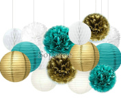 Sopeace 15 pcs White Teal Purple 25cm 20cm Tissue Paper Pom Pom Paper Lanterns Mixed Package for Teal Themed Party Wedding, Bridal Shower Decor Teal Blue Baby Shower Teal Wedding Decoration