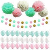 Sopeace 38pcs Mint Pink Tissue Paper Pom Pom Gold Tissue Pom Pom and Latex Balloons Polka Dot Paper Garland for Baby Shower Decoration Wedding Nursery Decorations Bridal Shower